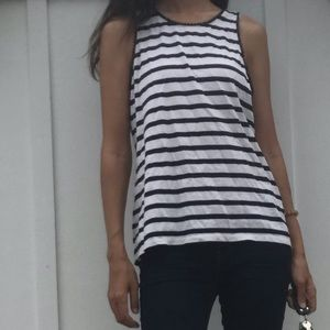 J crew medium striped blue white sleeveless blouse